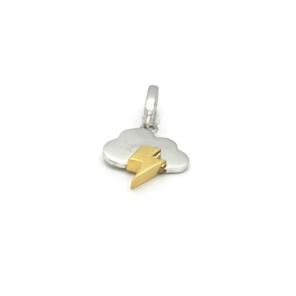 Gold Lightning & Cloud Pendant 925 Silver - Renee Isabella