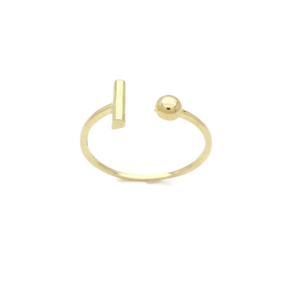 T-Bar & Bead Ring 9ct Yellow Gold - Renee Isabella