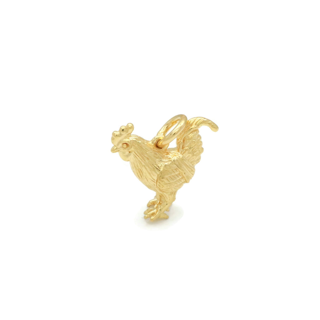 Chicken Pendant Gold Vermeil 925 Sterling Silver
