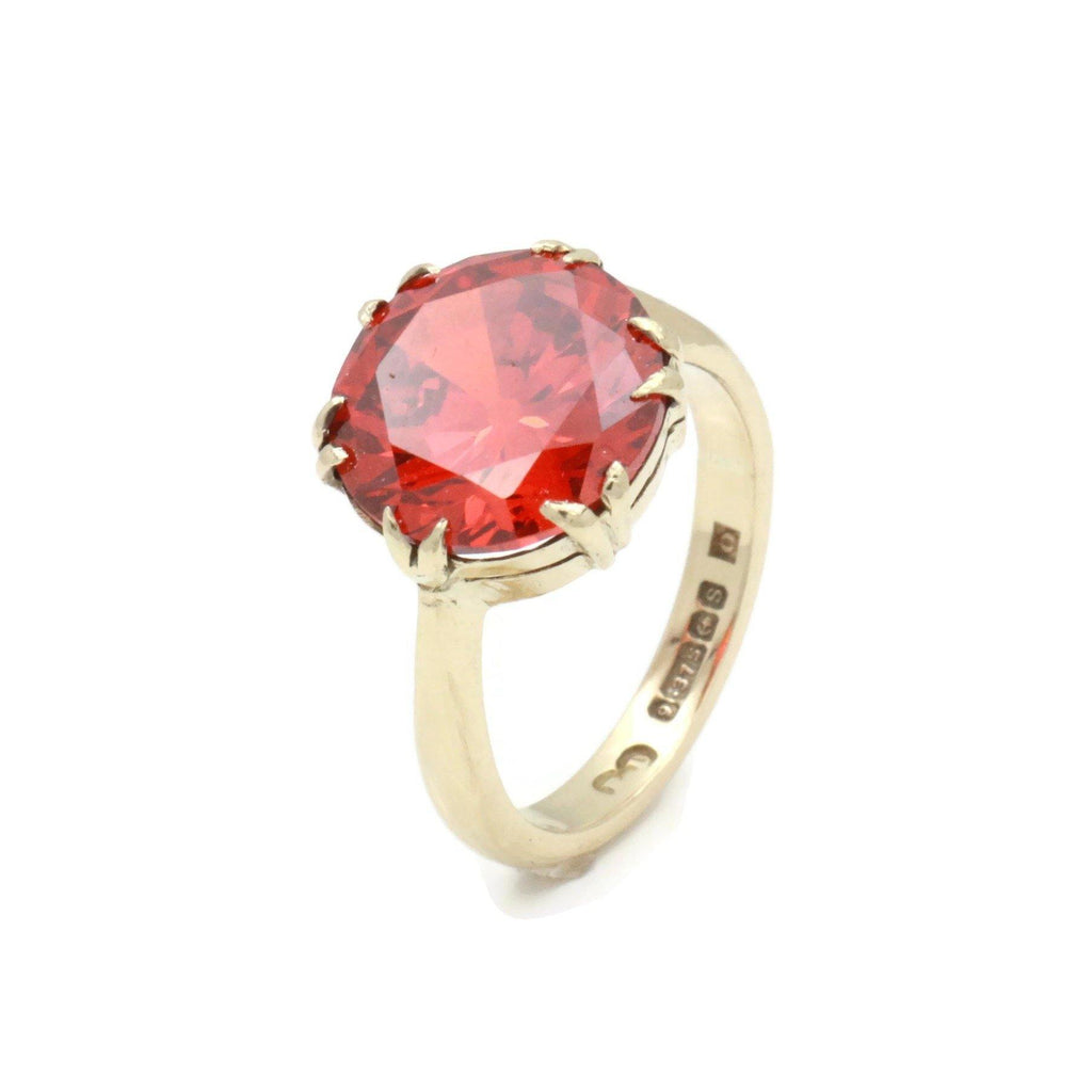 Red Cubic Zirconia Solitaire Ring 9ct Gold - Renee Isabella