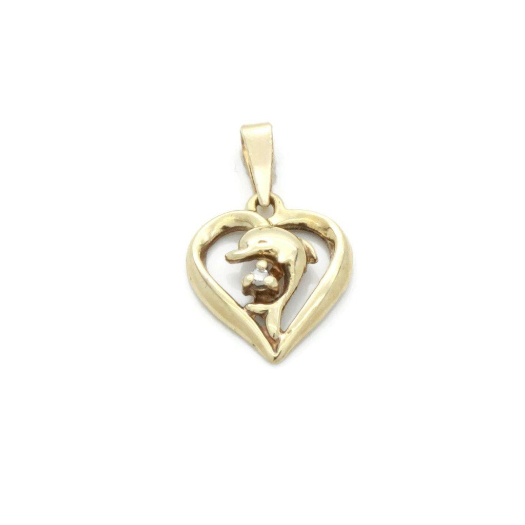Diamond Dolphin Pendant 9ct Yellow Gold - Renee Isabella