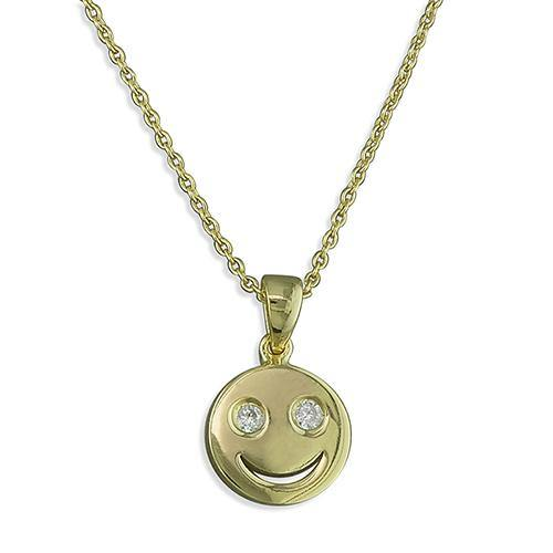Cubic Zirconia Smiley Face Pendant Gold Plated 925 Silver
