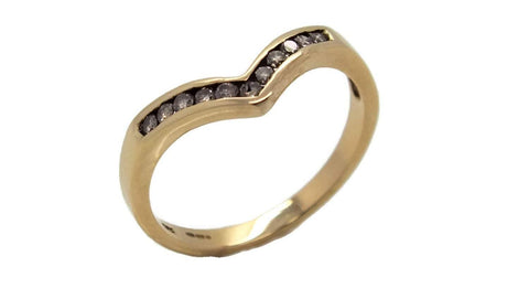 Diamond Wishbone Ring 9ct Yellow Gold