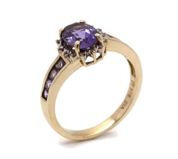 Amethyst & Diamond Ring 9ct Yellow Gold