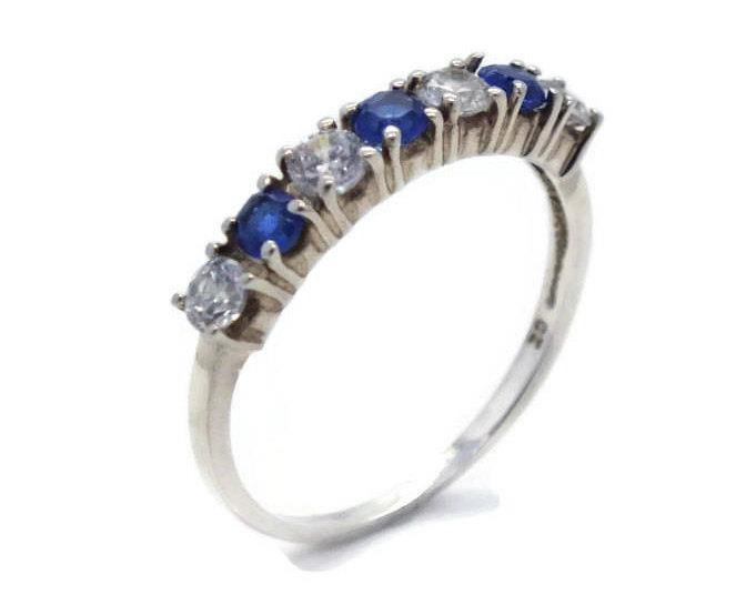 Blue & White Cubic Zirconia Ring 925 Sterling Silver - Renee Isabella