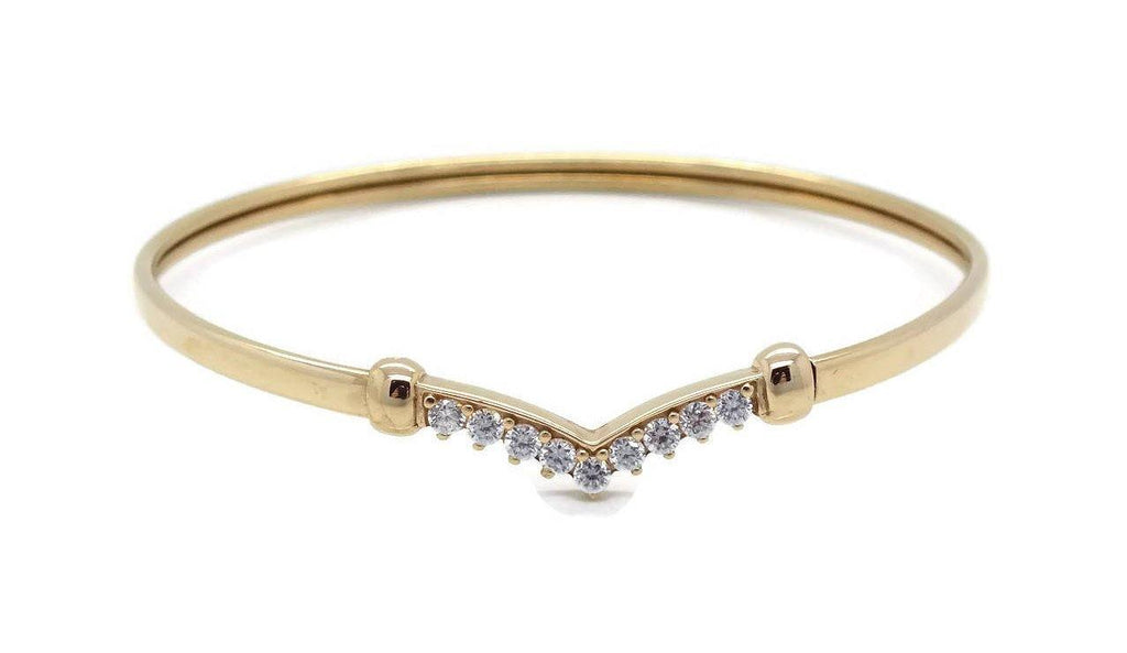 Cubic Zirconia Wishbone Bracelet 9ct Yellow Gold - Renee Isabella