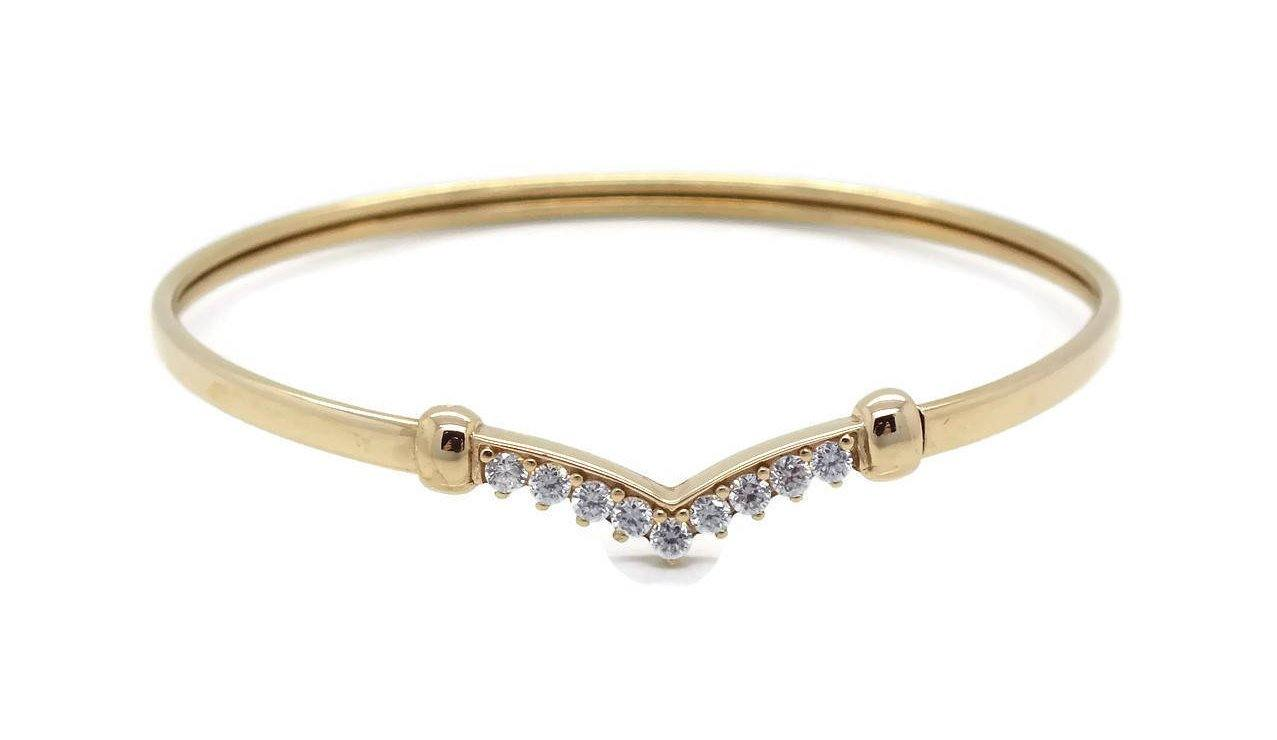 Cubic Zirconia Wishbone Bracelet 9ct Yellow Gold