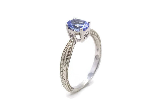 Solitaire Blue Tanzanite Ring 9ct White Gold