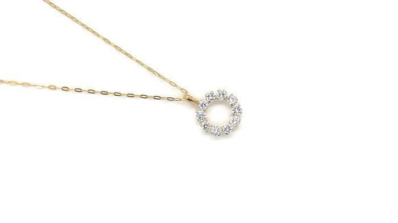Cubic Zirconia Circle Pendant 9ct Gold
