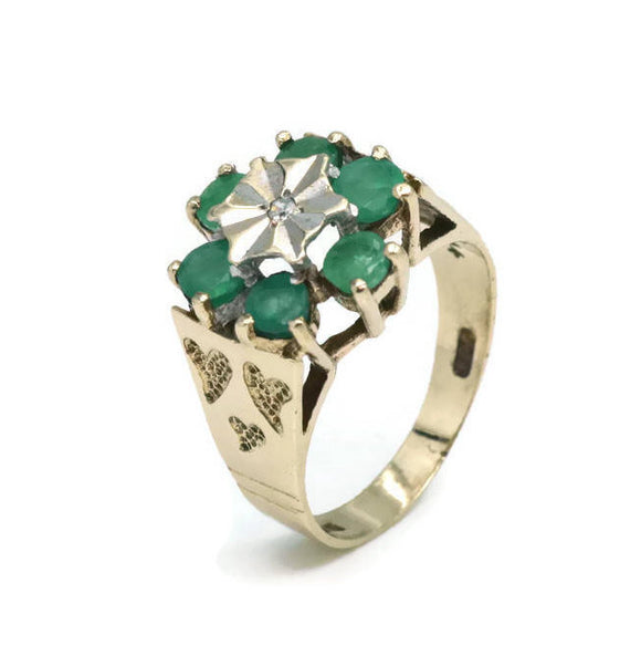 Vintage Emerald & Diamond Ring 9ct Gold