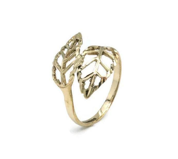 Delicate Leaf Ring 9ct Yellow Gold