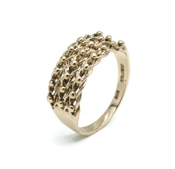 Three Row Keeper Ring 9ct Yellow Gold