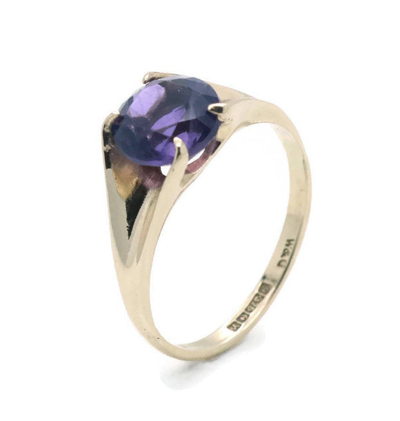 Vintage Amethyst Solitaire Ring 9ct Gold