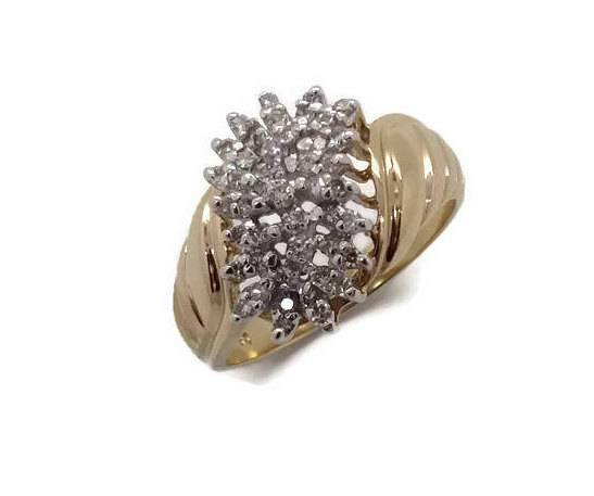 Diamond Cluster Ring 9ct Yellow Gold