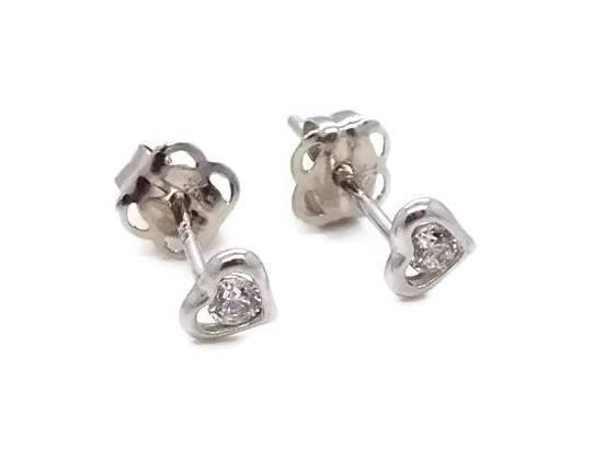Cubic Zirconia Heart Stud Earrings 9ct White Gold - Renee Isabella