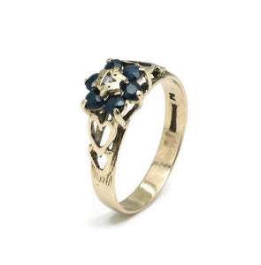 Sapphire & Diamond Engagement Ring 9ct Yellow Gold
