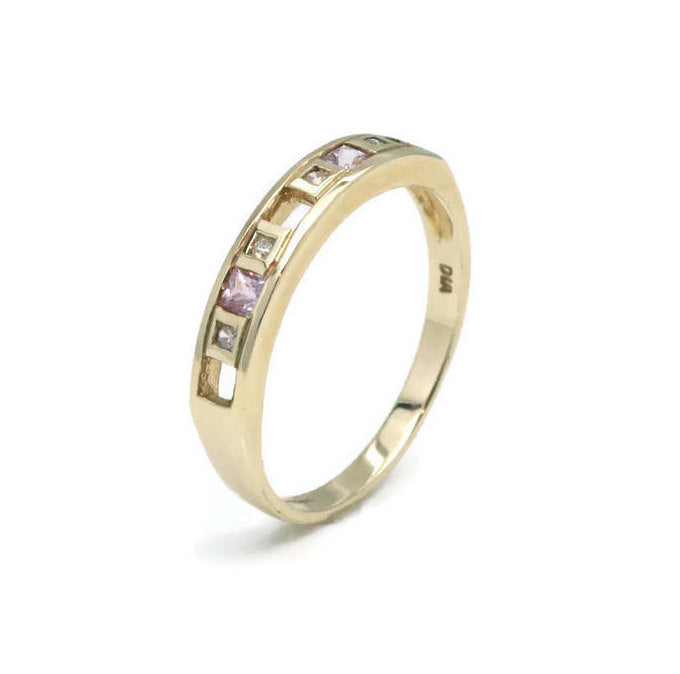 Pink Sapphire & Diamond Ring 9ct Yellow Gold