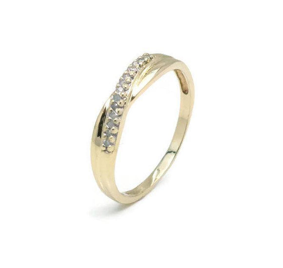 Diamond Crossover Ring 9ct Yellow Gold