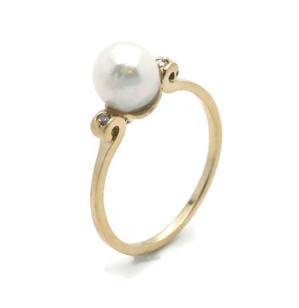 Freshwater Pearl & Diamond Ring 14ct Yellow Gold