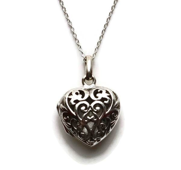 Silver Filigree Heart Locket 925 Sterling Silver