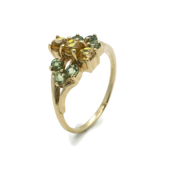 Citrine & Peridot Ring 9ct Yellow Gold