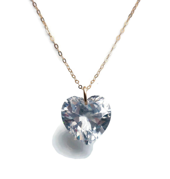 Cubic Zirconia Heart Pendant 9ct Gold
