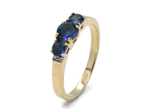 Diamond & Tanzanite Engagement Ring 9ct Yellow Gold