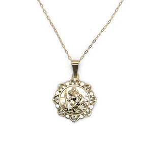 St Christopher Necklace 9ct Yellow Gold