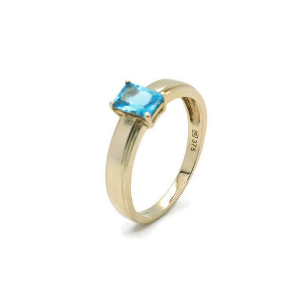 Swiss Blue Topaz Ring 9ct Yellow Gold