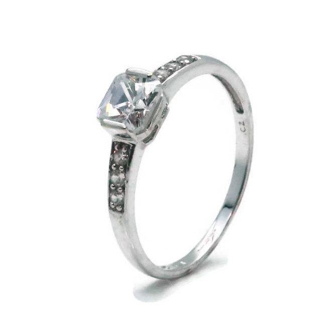 Cubic Zirconia Solitaire Ring 9ct White Gold - Renee Isabella