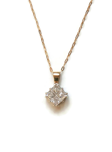 Square Cubic Zirconia Pendant 9ct Yellow Gold