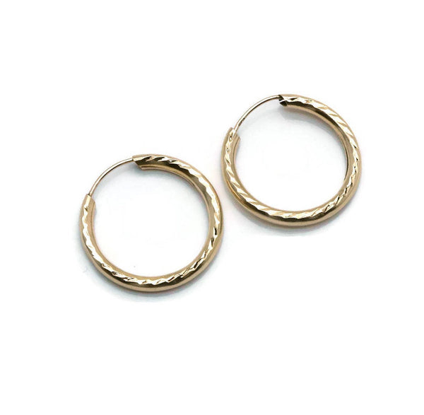 Small Sleeper Hoop Earrings 9ct Yellow Gold