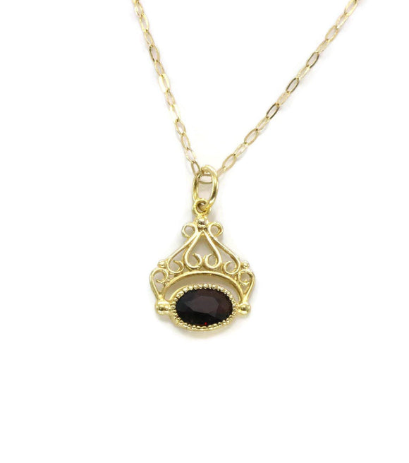 Garnet Pendant 9ct Yellow Gold