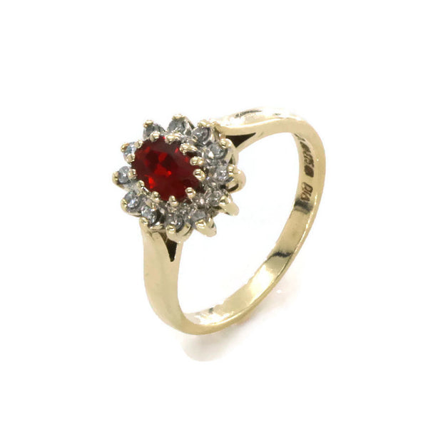 Ruby & Diamond Halo Ring 9ct Yellow Gold