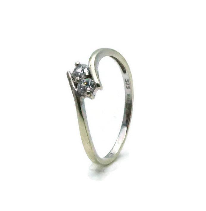 Double Cubic Zirconia Ring 9ct White Gold - Renee Isabella