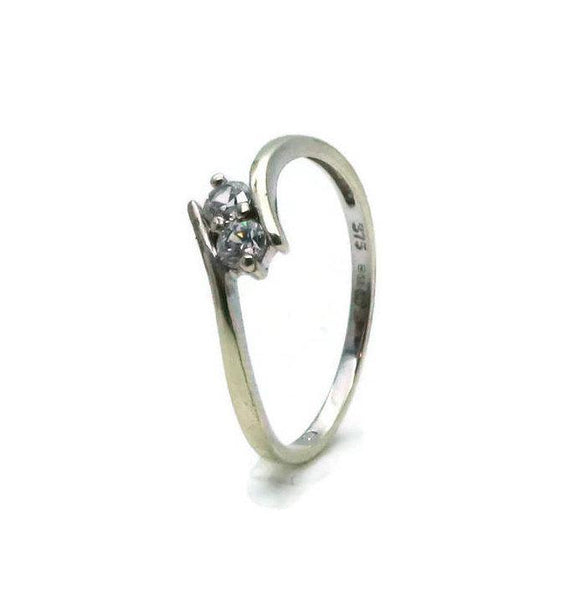 Double Cubic Zirconia Ring 9ct White Gold