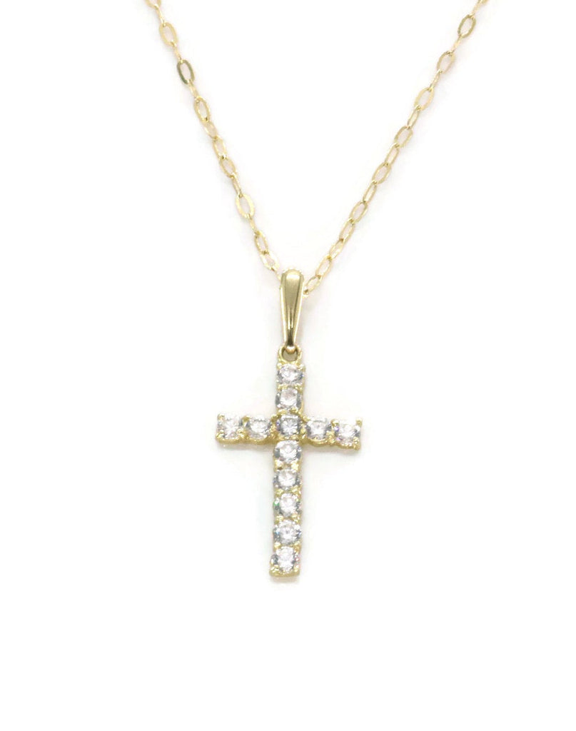 Small Cubic Zirconia Cross Necklace 9ct Yellow Gold