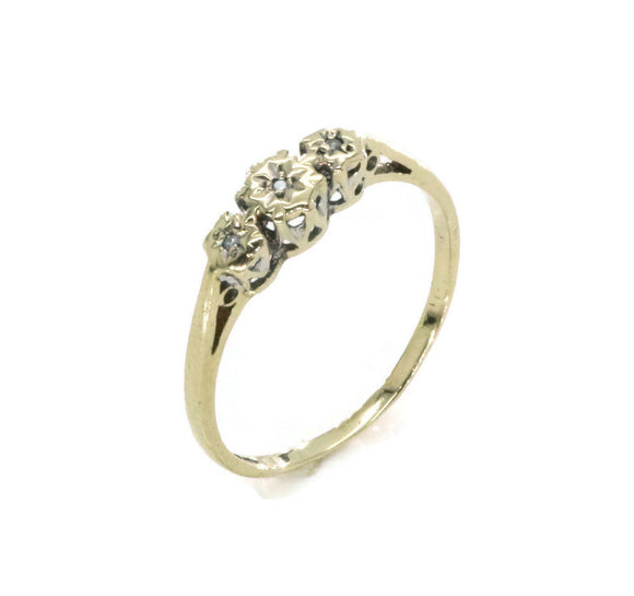 Trilogy Diamond Ring 9ct Yellow Gold