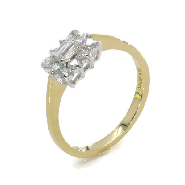 Half Carat White Diamond Ring 18ct Yellow Gold