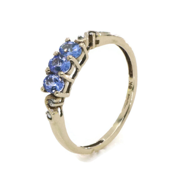 Tanzanite & Diamond Engagement Ring 9ct Yellow Gold
