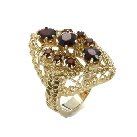 Art Deco Garnet Ring 9ct Yellow Gold
