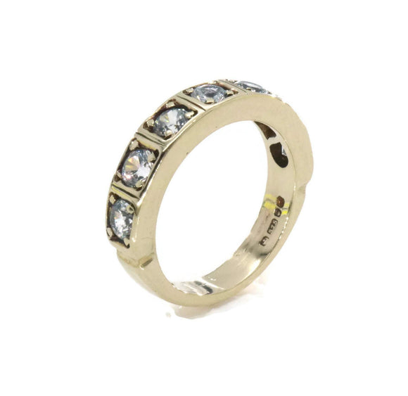 Cubic Zirconia Half Eternity Ring 9ct Gold