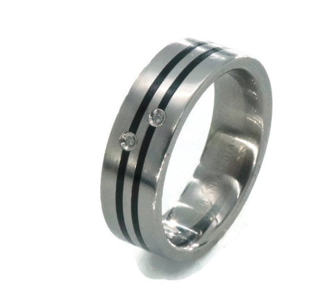 Titanium & Diamond Wedding Band Ring