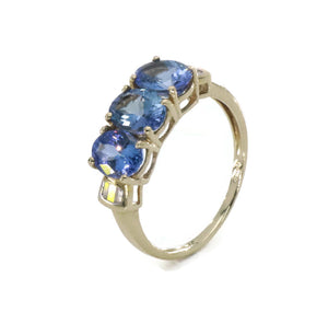 Trilogy Tanzanite & Diamond Ring 9ct Yellow Gold