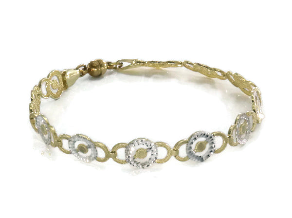 Magnetic Tennis Bracelet 9ct Yellow & White Gold