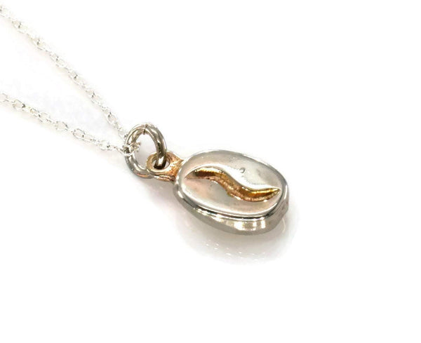 Coffee Bean Necklace 925 Sterling Silver