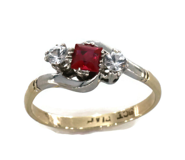 Ruby & Diamond Ring 9ct Yellow Gold & Platinum