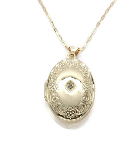Diamond Locket Pendant 9ct Yellow Gold