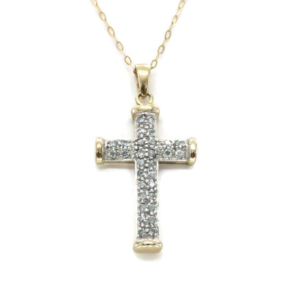 Cubic Zirconia Cross Pendant 9ct Gold