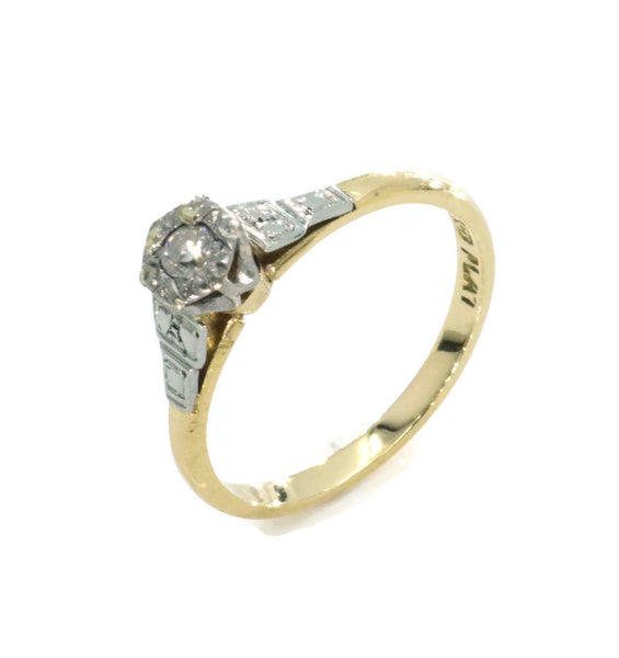 Solitaire Diamond Engagement Ring 9ct Yellow Gold & Platinum